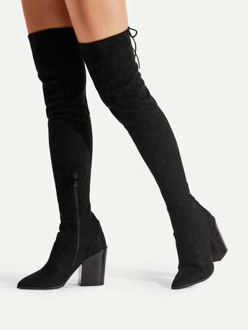 Pointed Toe Block Heeled Thigh HighBoots