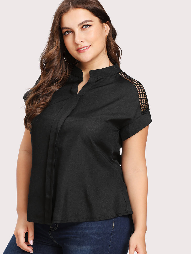 Hollow Out Crochet Panel High Low Blouse