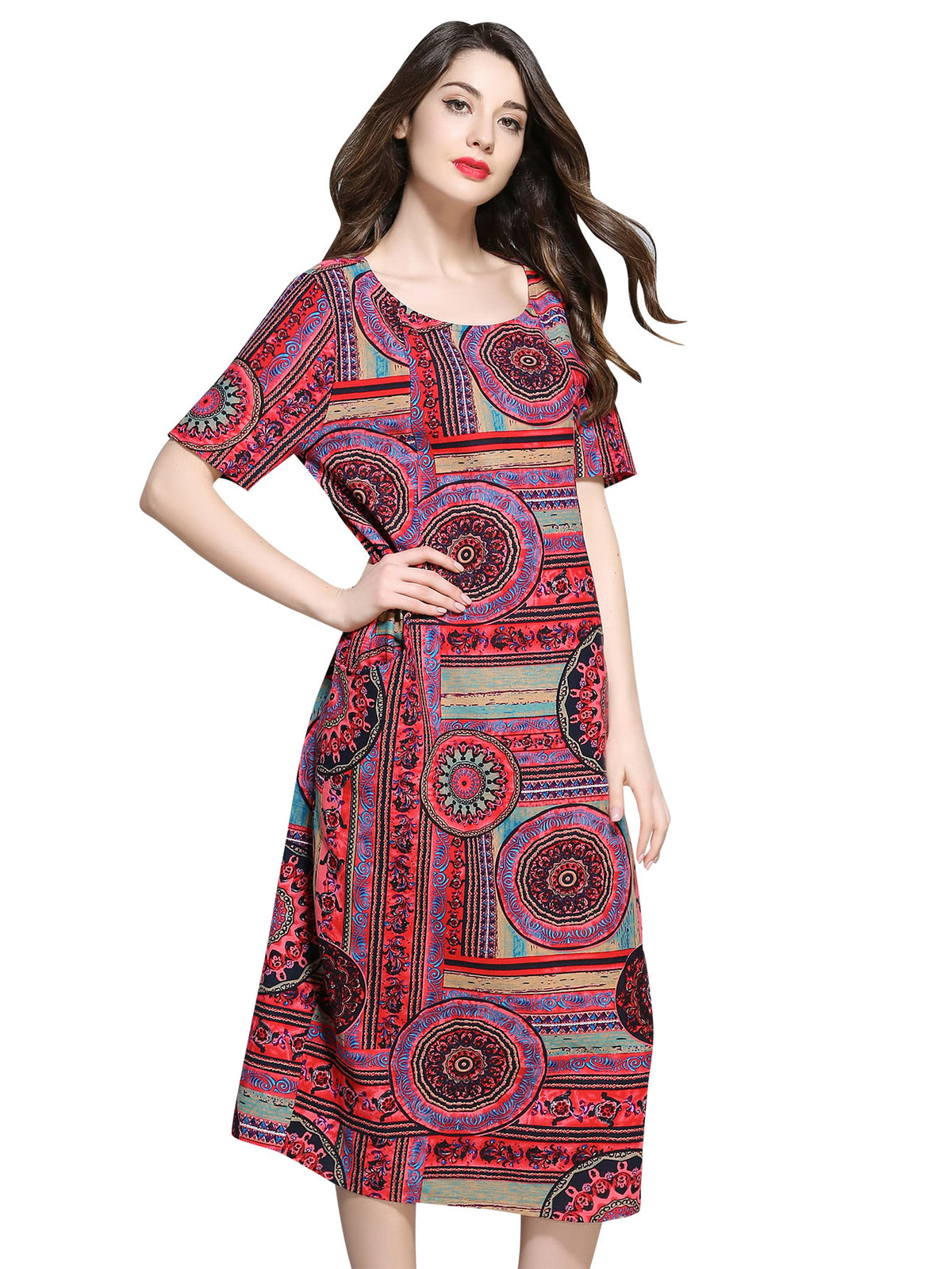 Ornate Print Tunic Dress