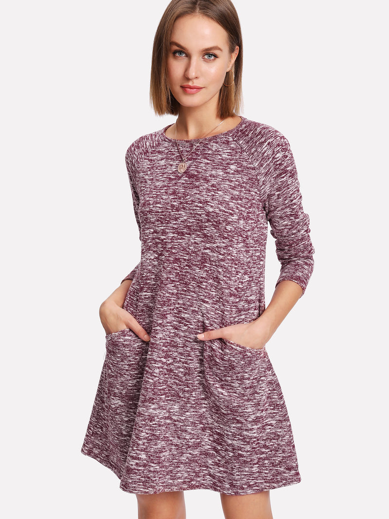 Raglan Sleeve Marled Knit Dress