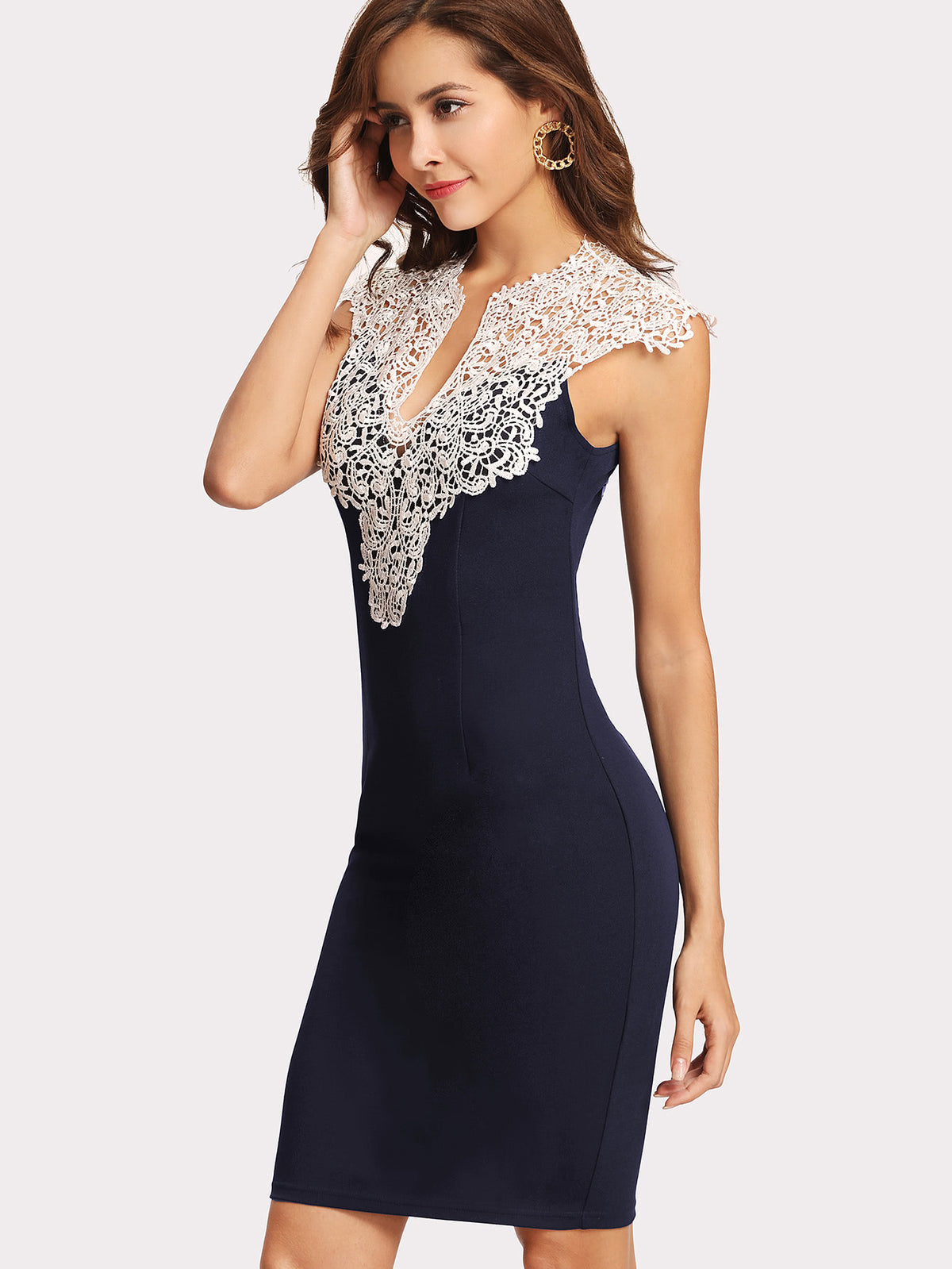 Floral Lace Yoke Form Fitting Dress