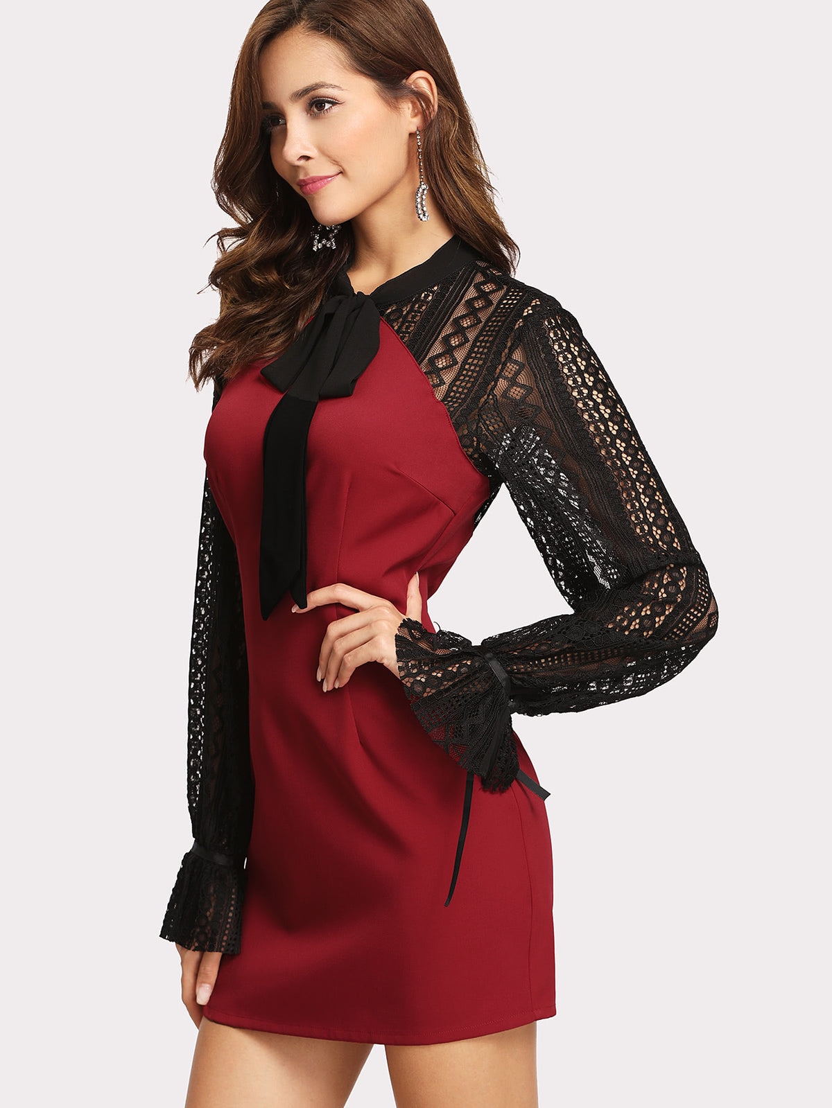 Lace Raglan Sleeve Cut Out Back Dress