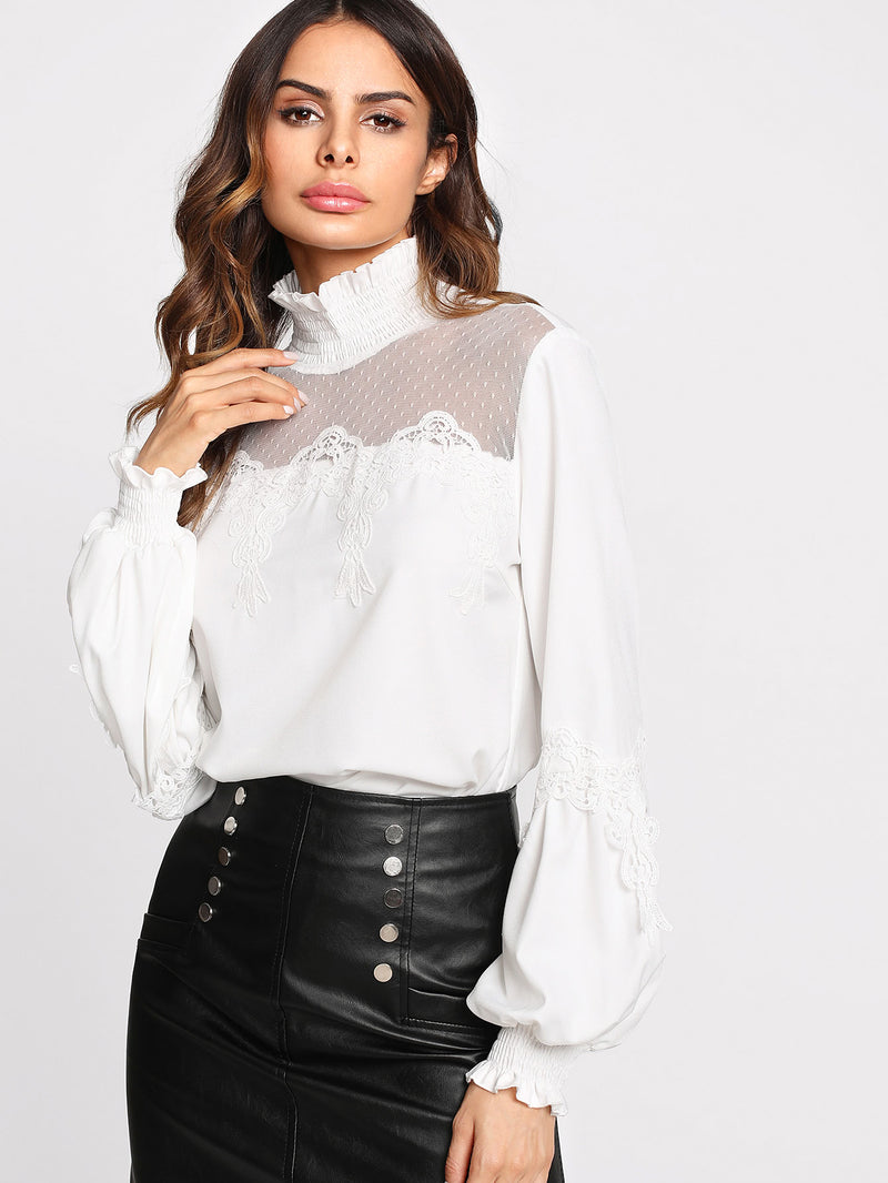 Dot Mesh Insert Lace Applique Blouse