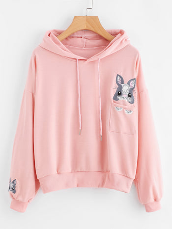 Cartoon Embroidered Hoodie With Chest Pocket
