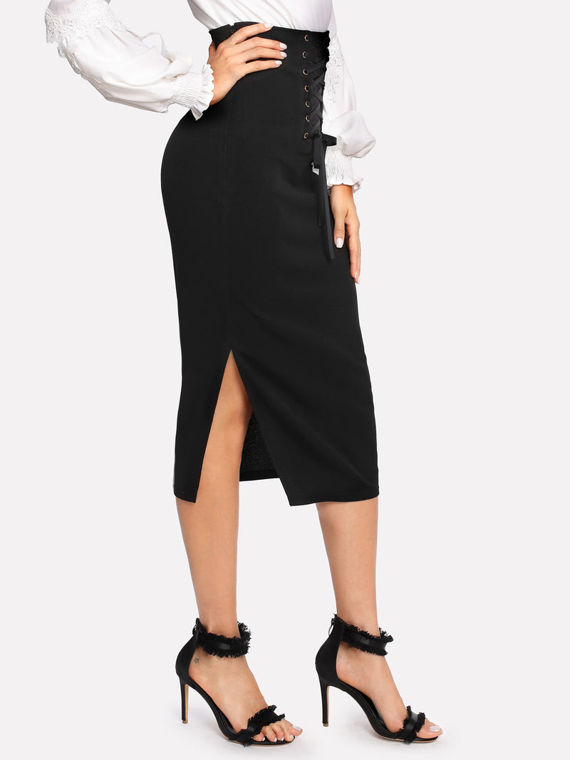 Grommet Lace Up Split Midi Skirt