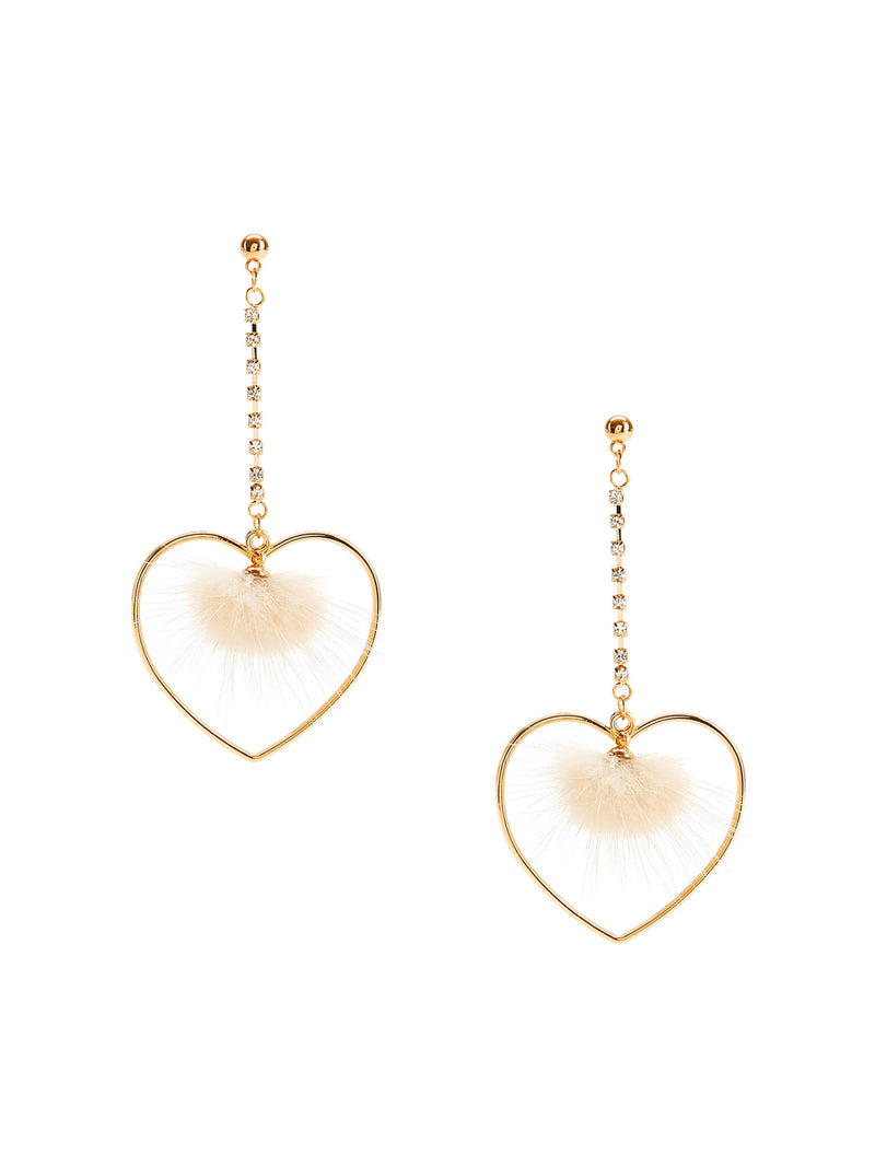 Heart & Pom Pom Design Drop Earrings