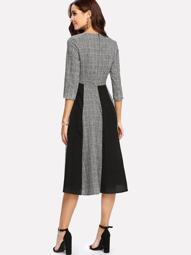 Bow Neck Contrast Panel Grid Dress