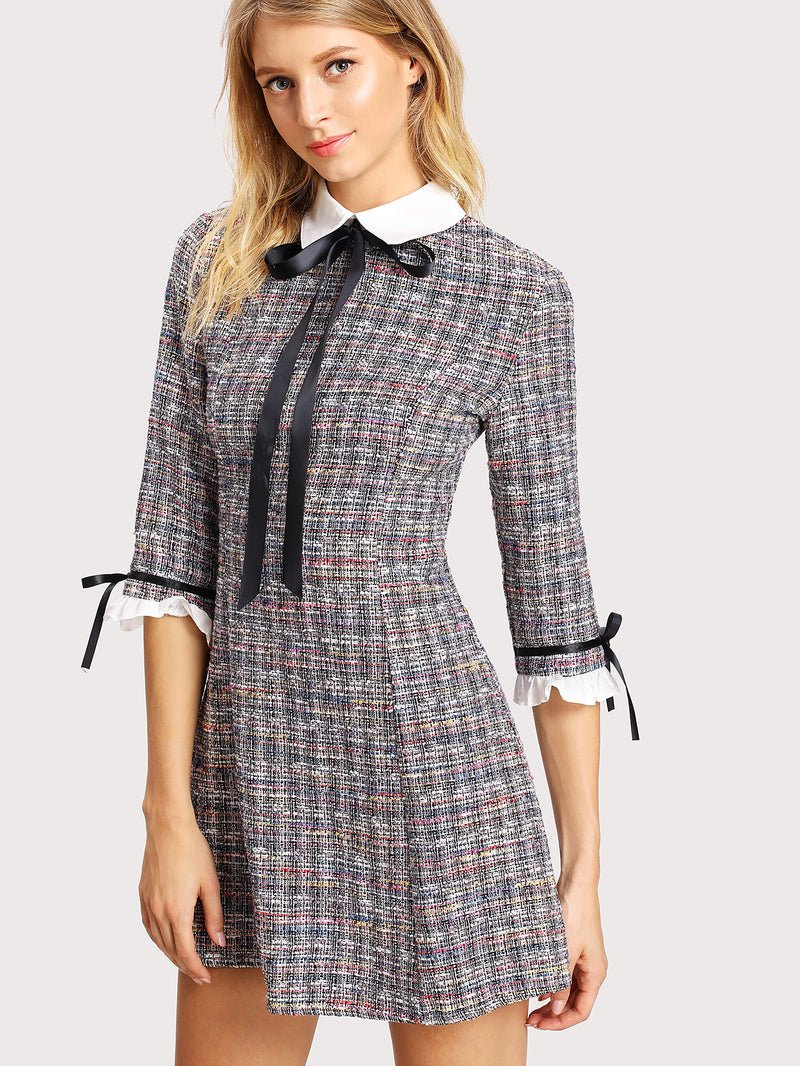 Contrast Collar And Cuff Tweed Dress