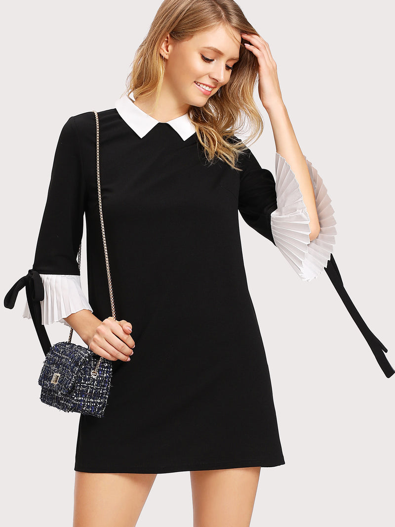 Contrast Collar And Pleated Cuff Dress