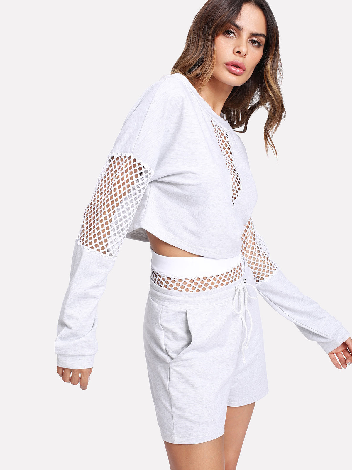 Fishnet Panel Crop Pullover With Shorts