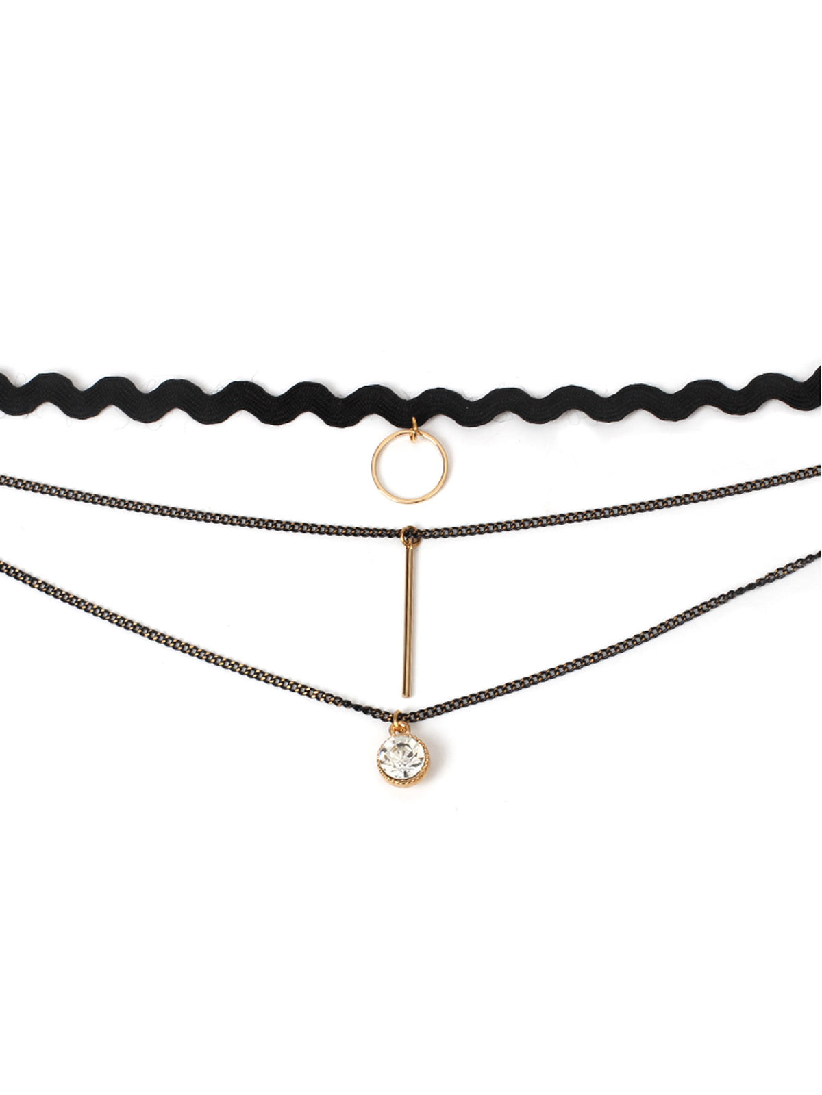 Ring & Bar Detail Layered Chain Necklace