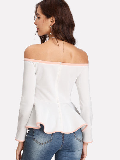 Contrast Binding Off Shoulder Peplum Top