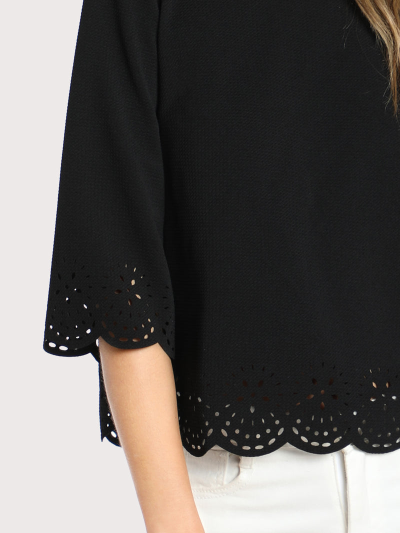 Scallop Laser Cut Textured Blouse