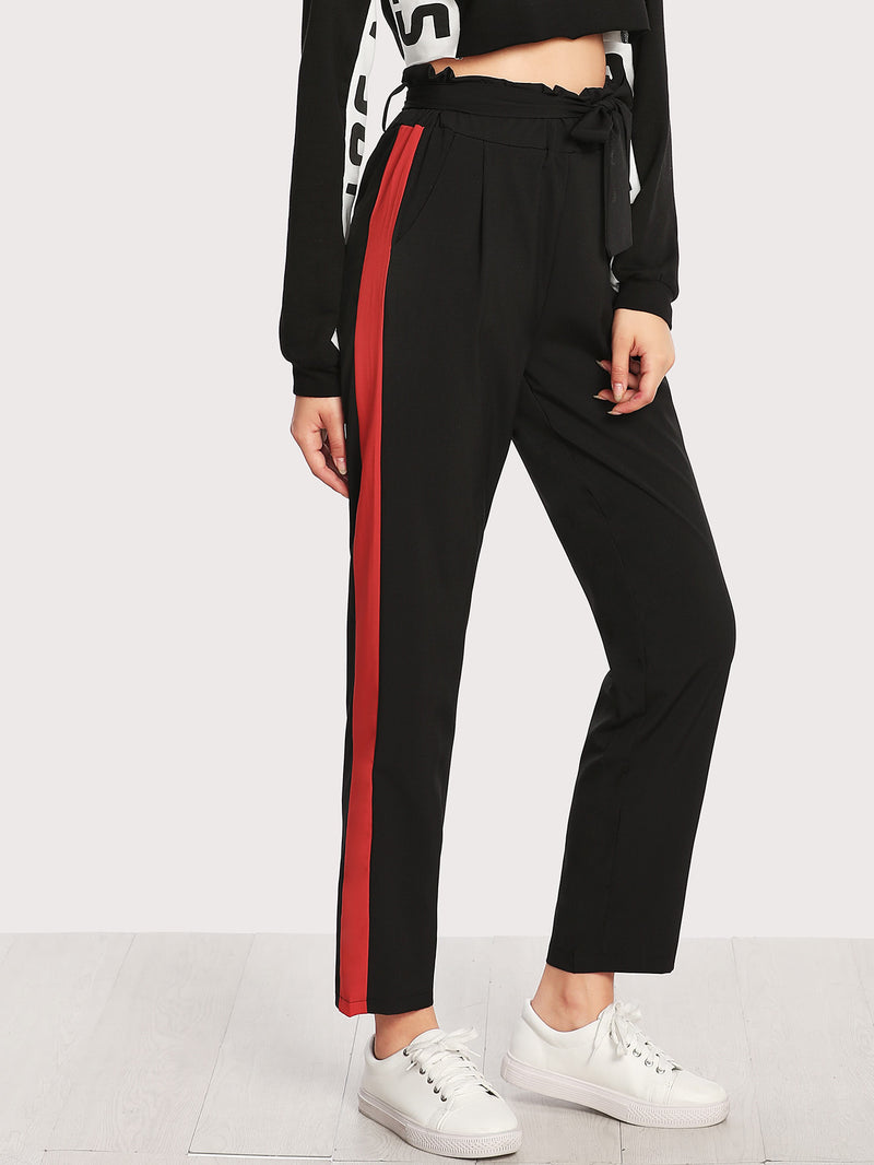Contrast Panel Side Frill Waist Pants