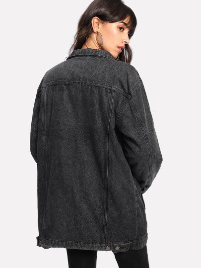 Sherpa Lining Patched Longline Jacket