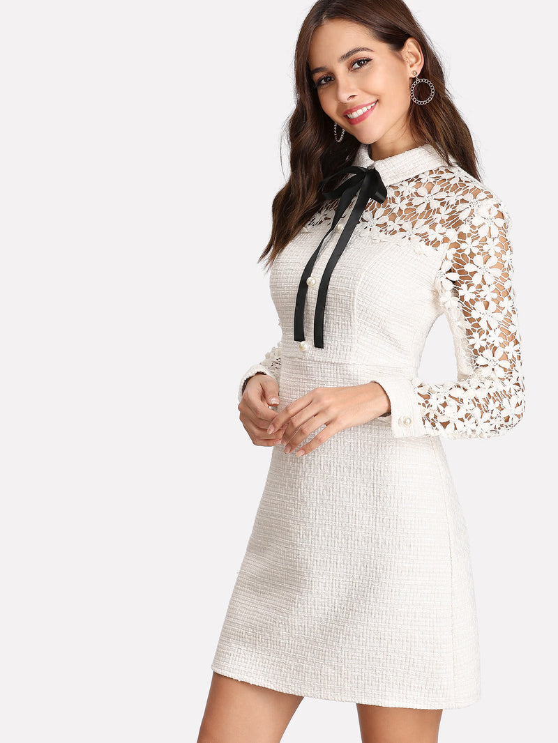 Daisy Lace Sleeve Tie Neck Tweed Dress