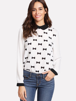 Contrast Peter Pan Collar Bow Print Blouse