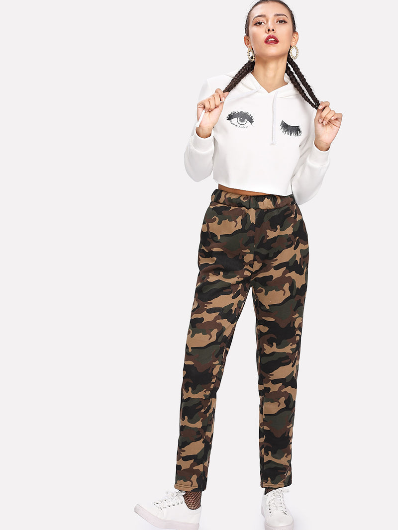 Faux Fleece Lined Camo Sweatpants