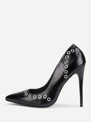 Grommet Design PU Stiletto Heels