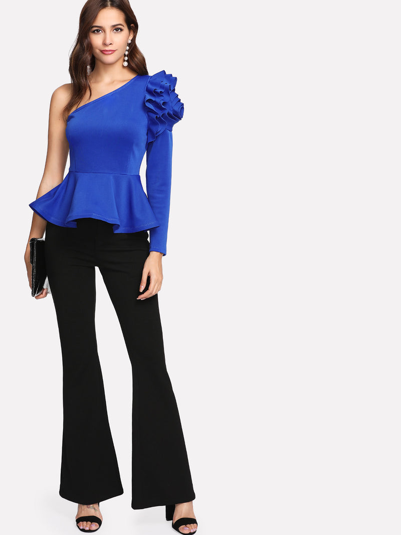 Asymmetrical Layered Shoulder Peplum Top