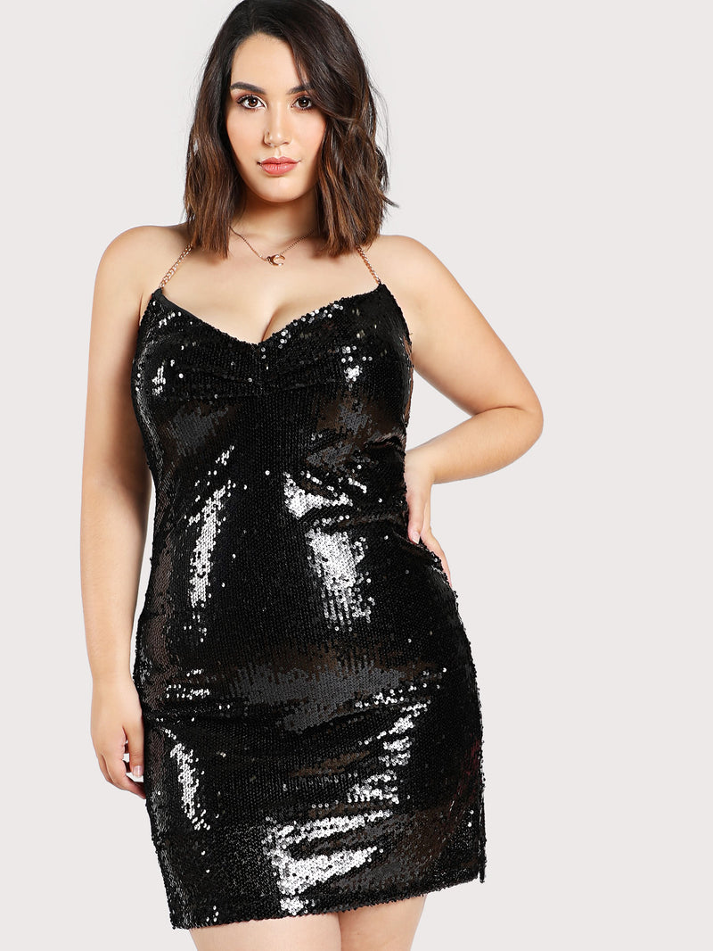 Sequined Halter Chain Dress