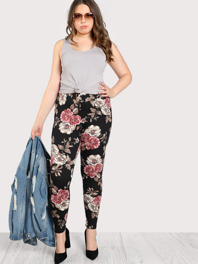 Floral Print Stretch Legging Pants
