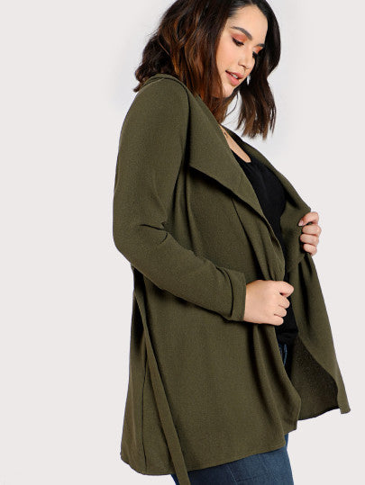Waterfall Collar Belted Wrap Coat