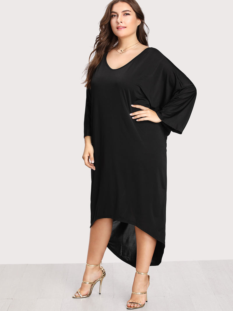 Batwing Sleeve Dip Hem Dress