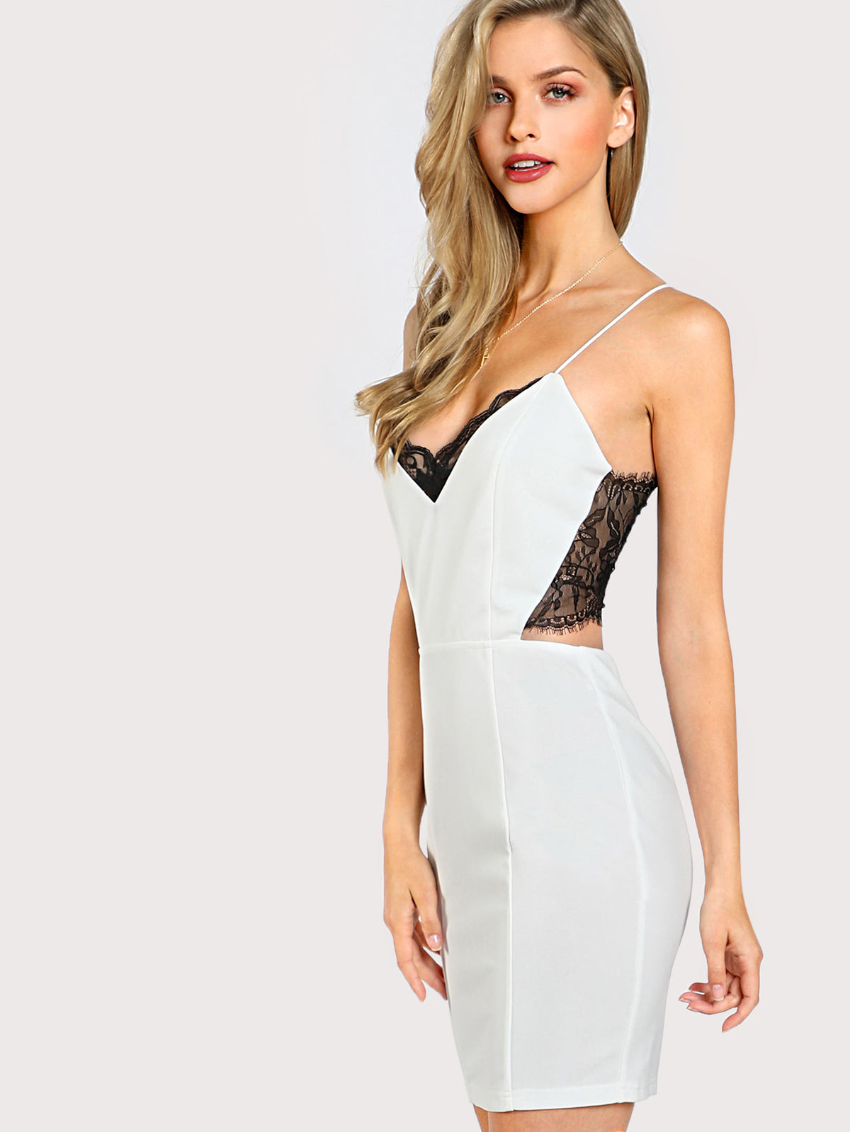Lace Panel Cut Out Cami Dress