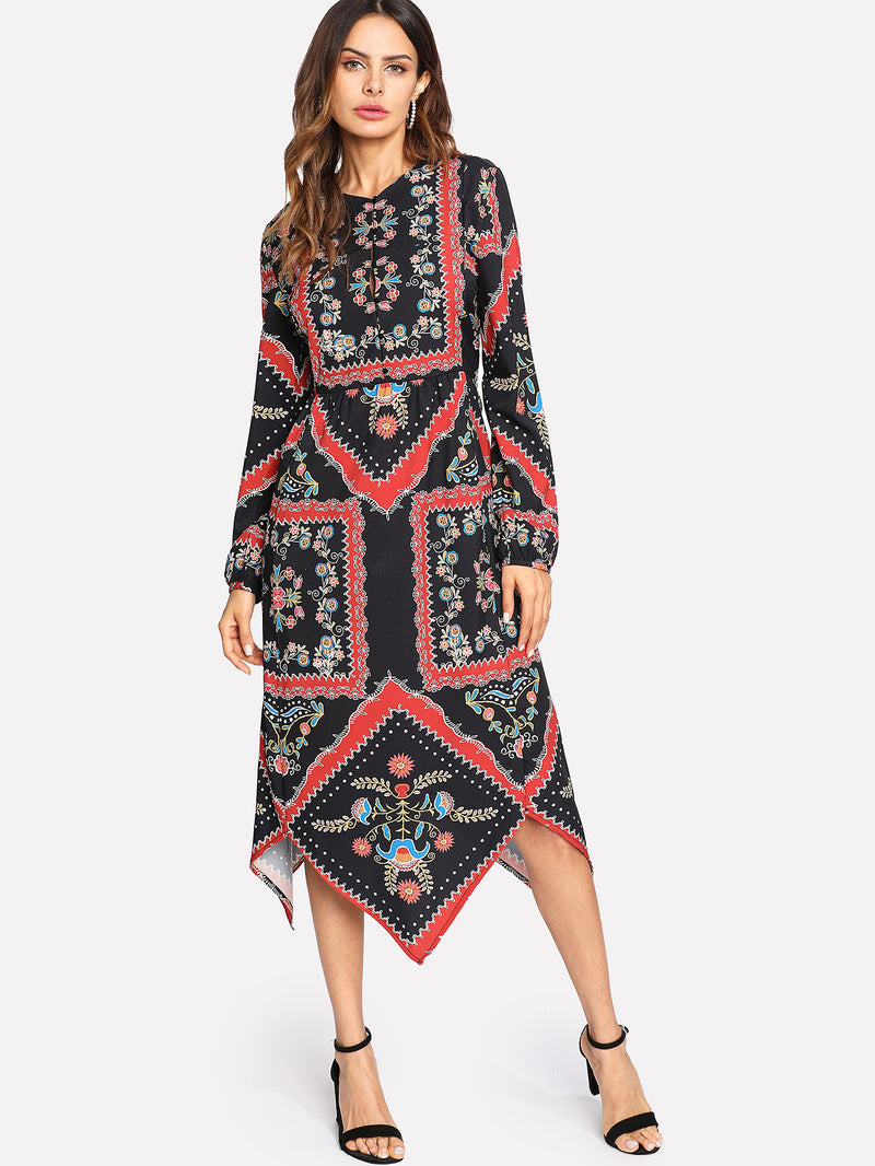 Asymmetrical Hem Tribal Print Dress