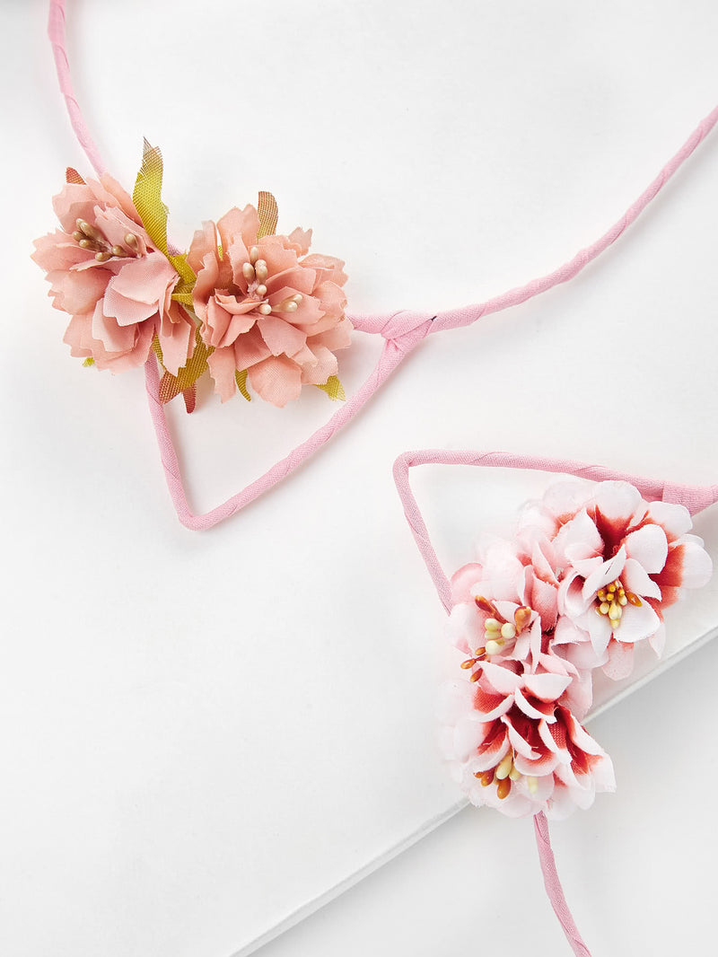 Cat Ear Flower Decorated Headband 2pcs