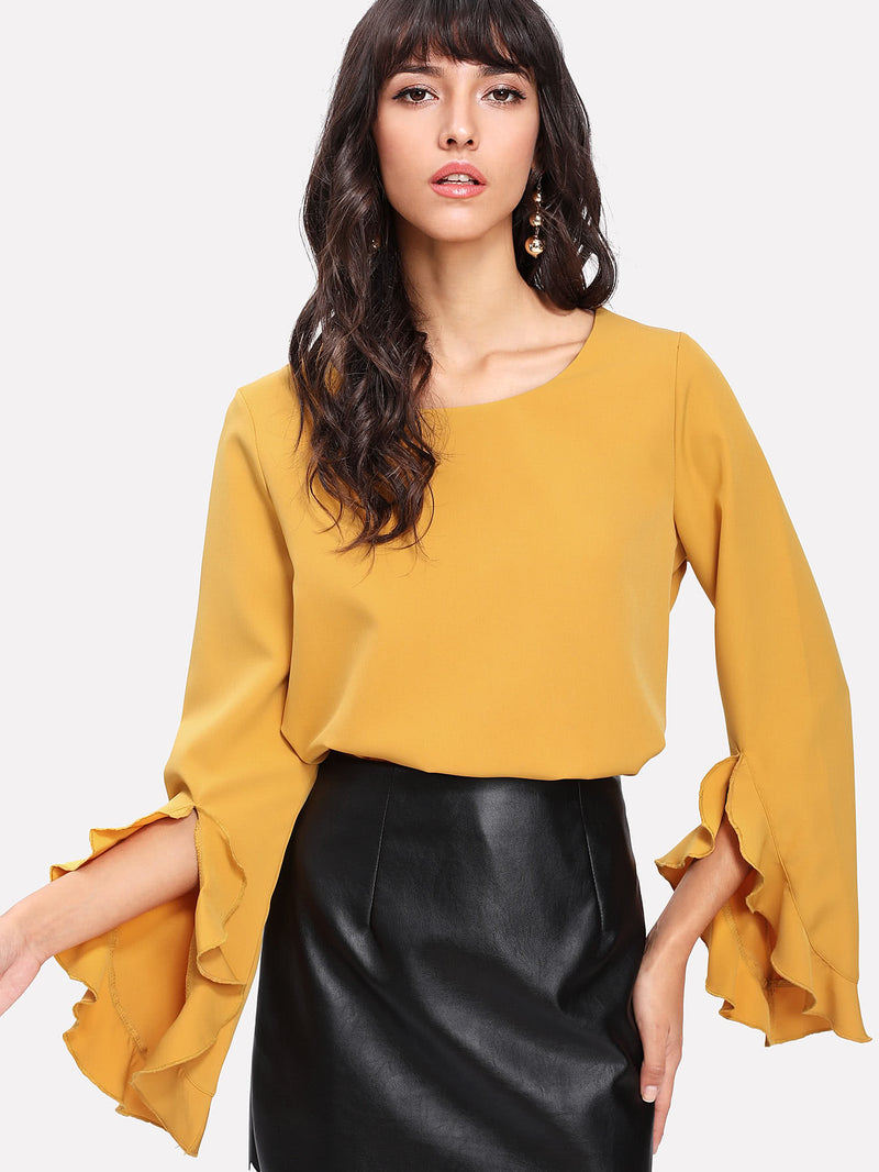 Ruffle Trim Zip Back Blouse