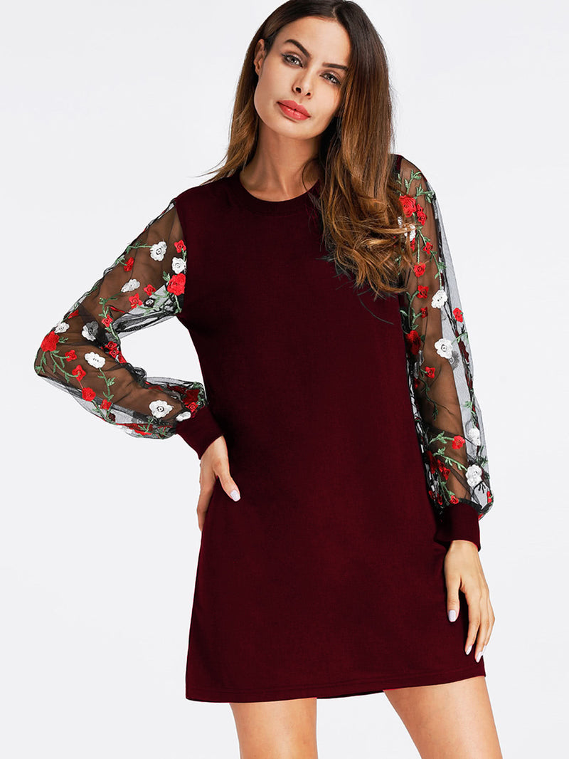 Contrast Embroidery Mesh Sleeve Sweatshirt Dress