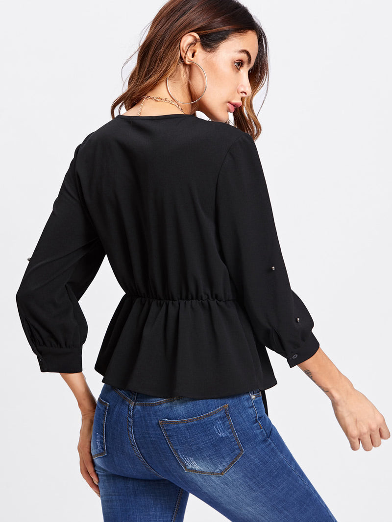 Allover Beading Knot Front Peplum Blouse