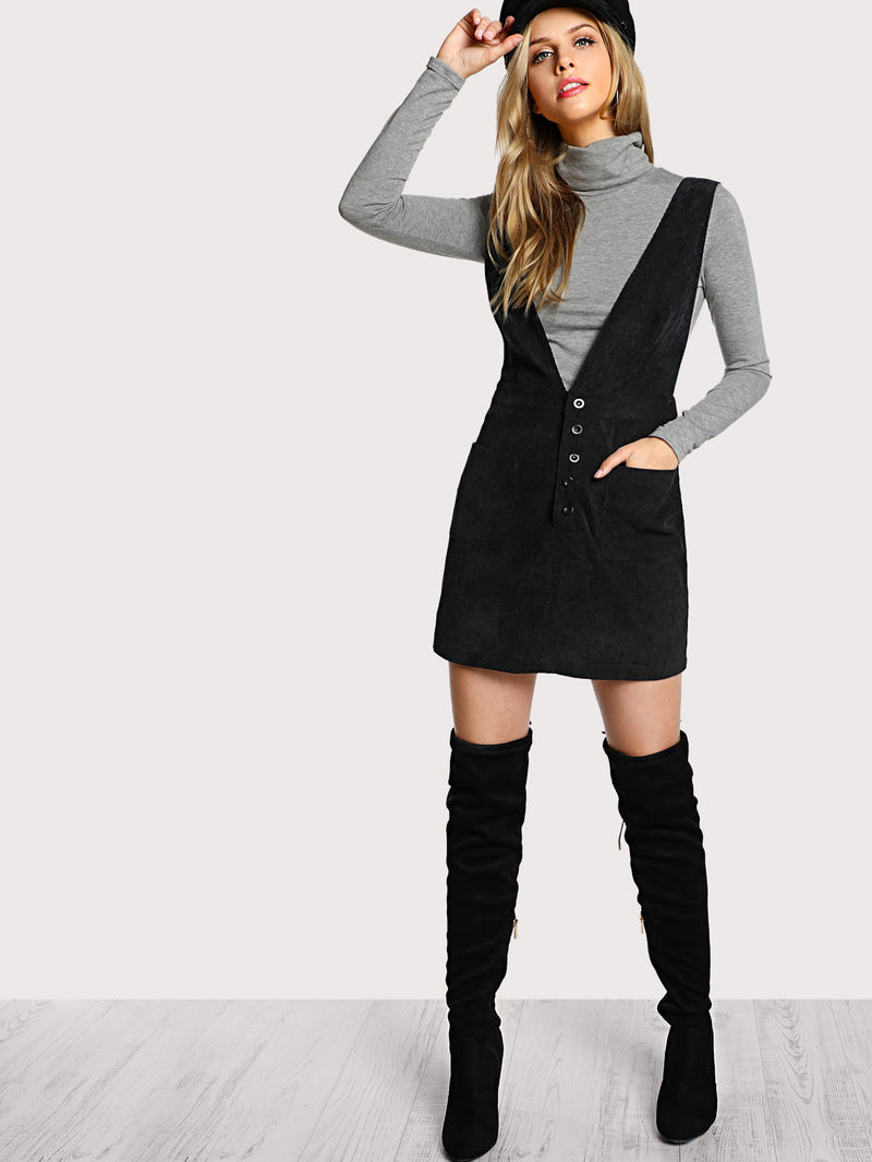 Crisscross Buttoned Plunge Pinafore Dress