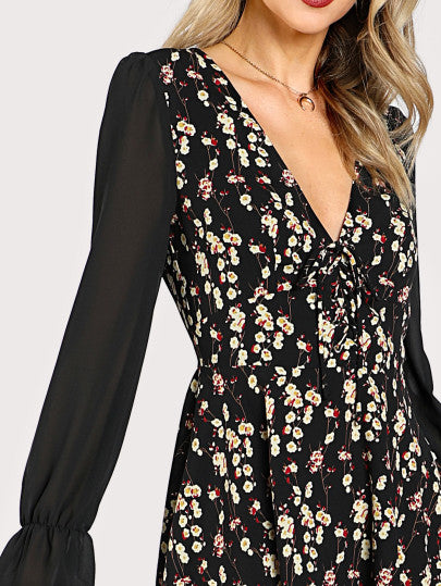 Semi Sheer Sleeve Lace Up Floral Dress