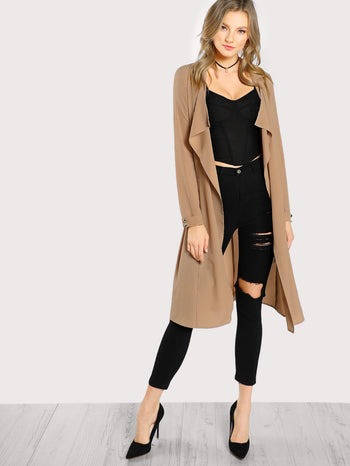 Buttoned Cuffed Sleeve Open Front Coat