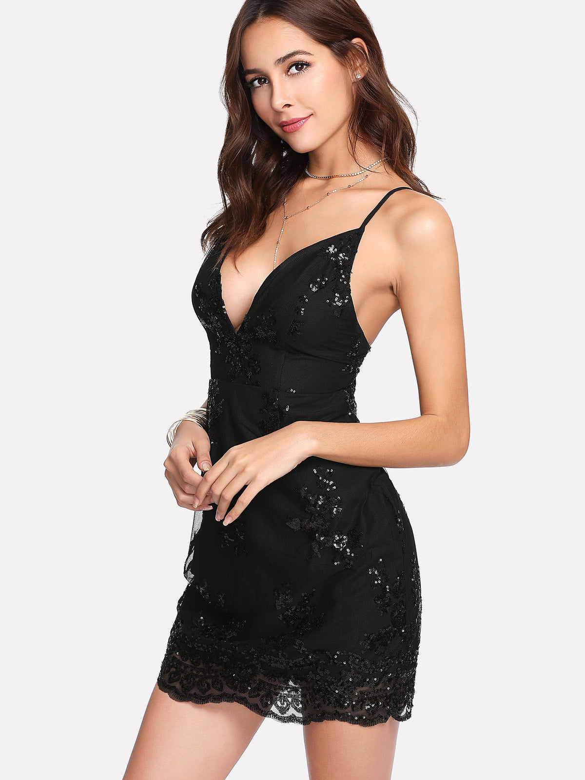 Plunge Neck Sequin Mesh Overlay Dress