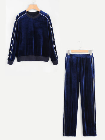 Button Detail Velvet Pullover & Pants Set