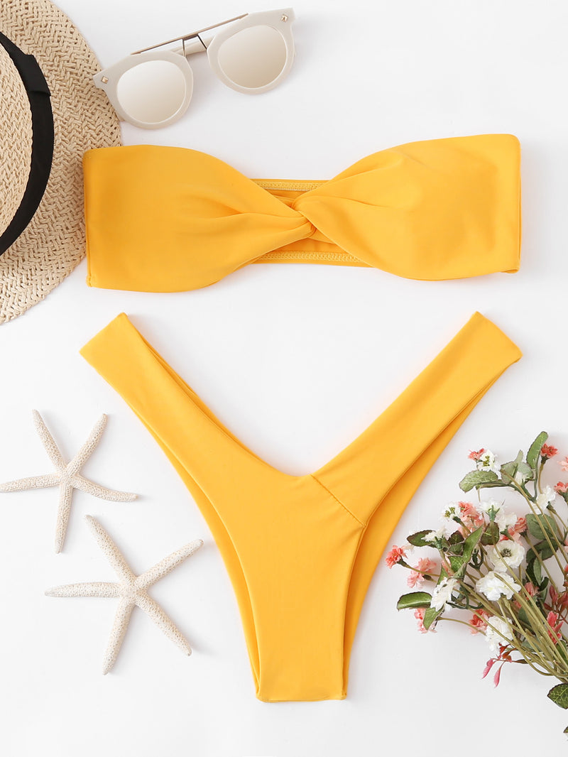 Twist High Leg Bikini Set