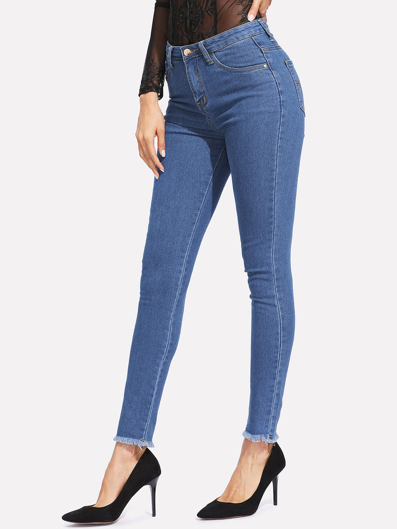 Zip Back Frayed Hem Jeans