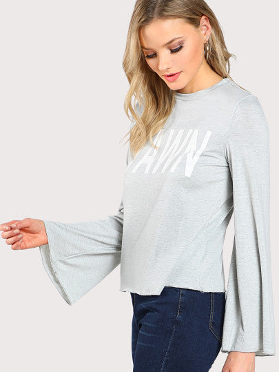 Heather Knit Fluted Sleeve Tee