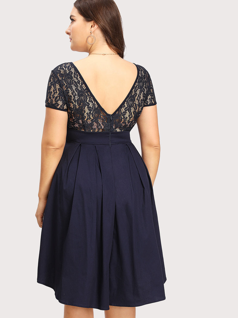Contrast Lace V Back Dip Hem Dress