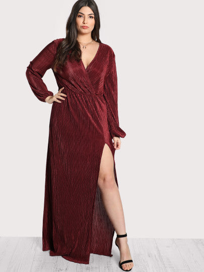 Pleated Surplice Wrap Split Dress