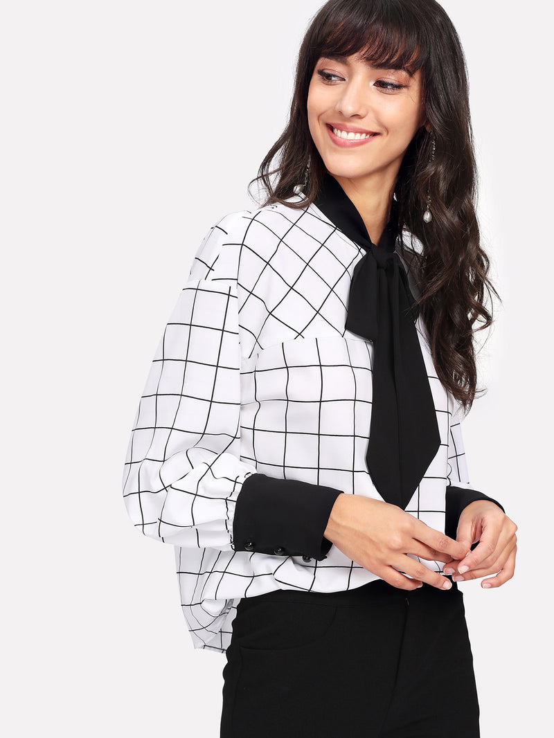 Contrast Tie Neck And Cuff Grid Blouse