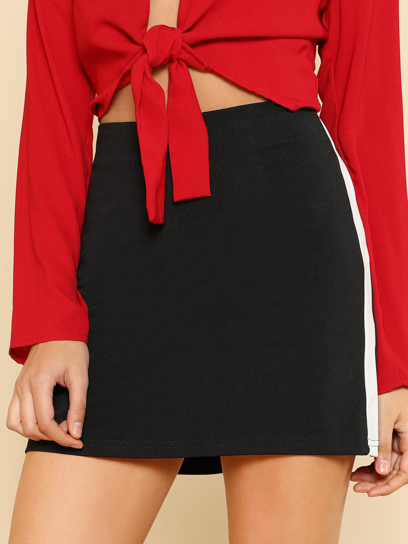 Contrast Panel Side Jersey Skirt