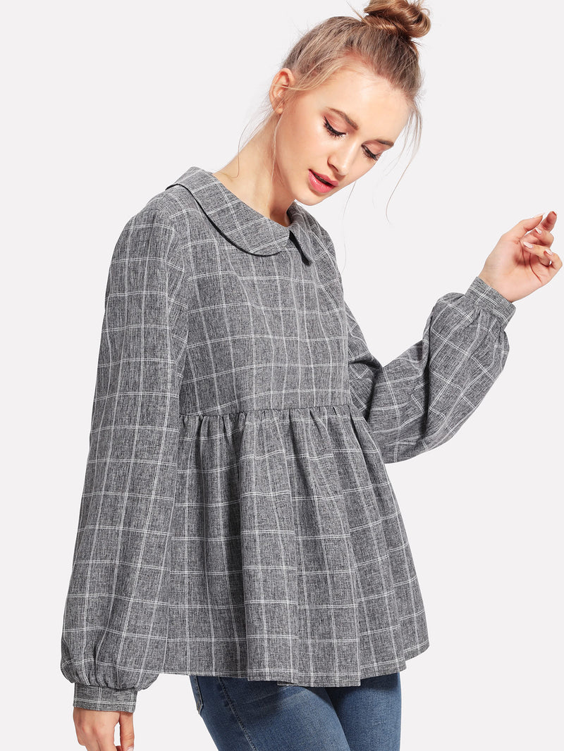 Peter Pan Collar Lantern Sleeve Smock Top