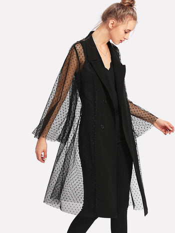 Dot Mesh Back Double Breasted Coat