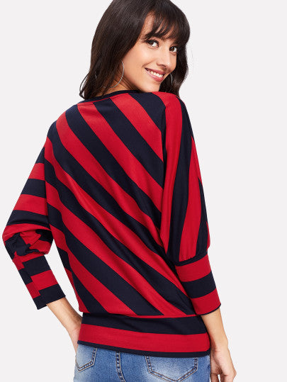 Two Tone Dolman Sleeve Pullover