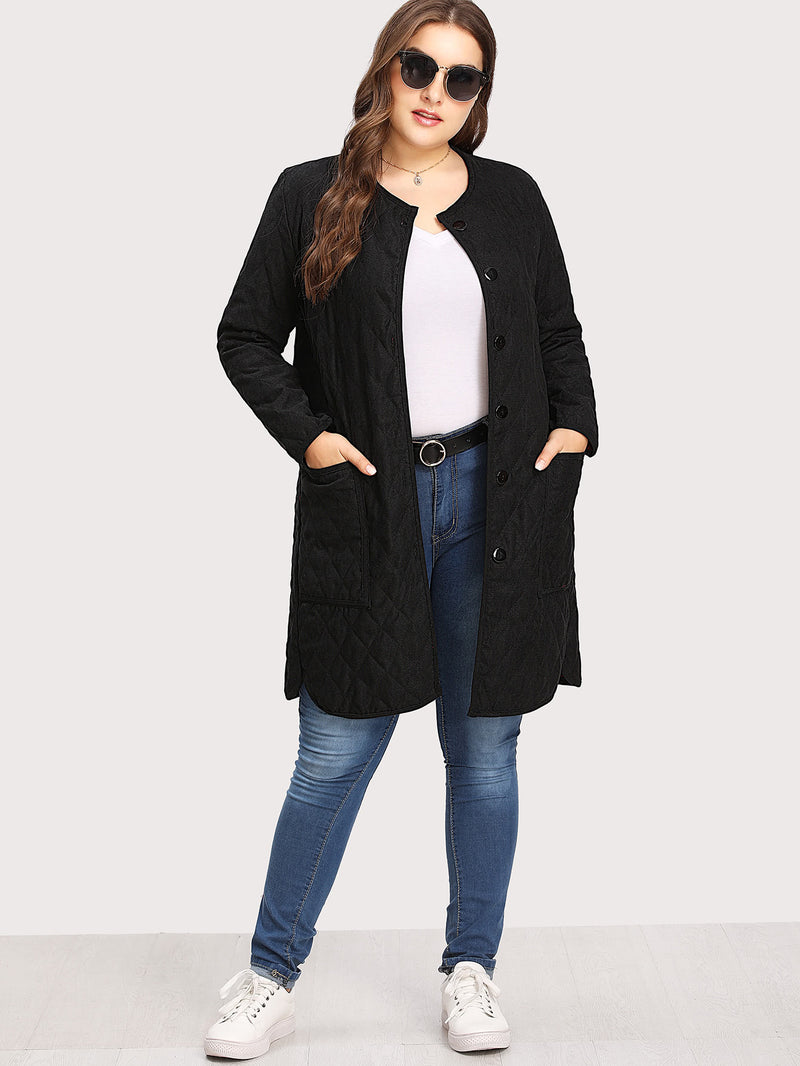 Quilted Dolphin Hem Coat